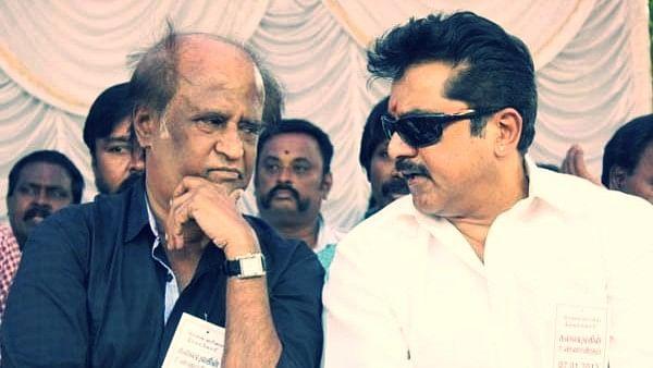 Rajinikanth with Sarath Kumar.