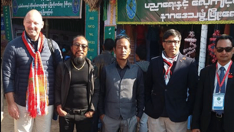 "From Left to Right: European Union's Envoy to Myanmar Roland Kobia, NSCN Khaplang's military chief Niki Sumi, senior cadre Isak Sumi, Indian Envoy to Myanmar Vikram Misri and an unidentified Myanmar security official. (Photo Courtesy: Facebook/<a href=""https://www.facebook.com/isak.sumi/posts/1192630777499290"">Isak Sumi</a>)"