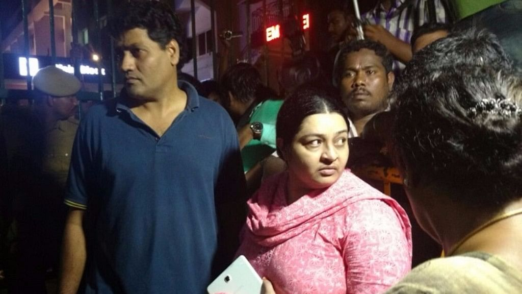 Jayalalithaa's niece Deepa Jayakumar with her husband Madhavan.