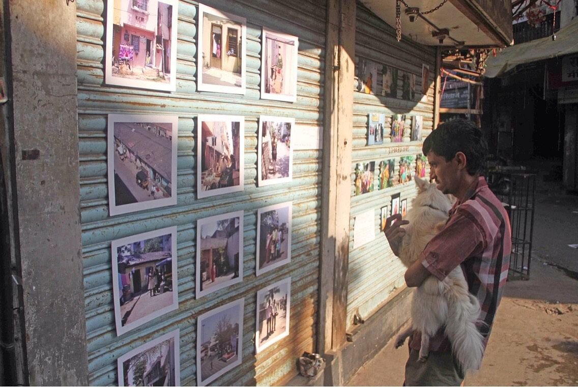 For the first exhibition, photographs were displayed on the shutters of the closed shops. (Photo Courtesy: Prachee Kulkarni)