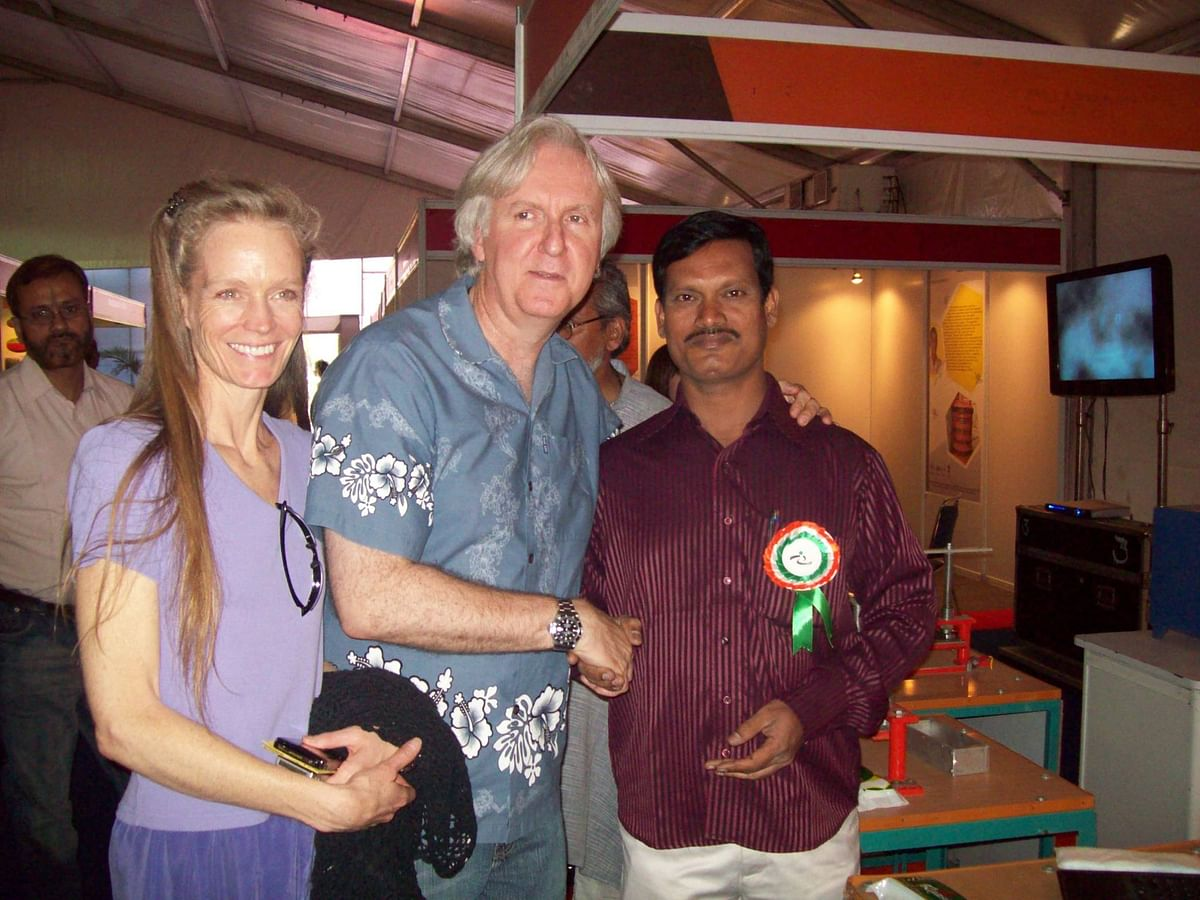 Arunachalam Muruganantham with filmmaker James Cameron and his wife. (Photo courtesy: Facebook)