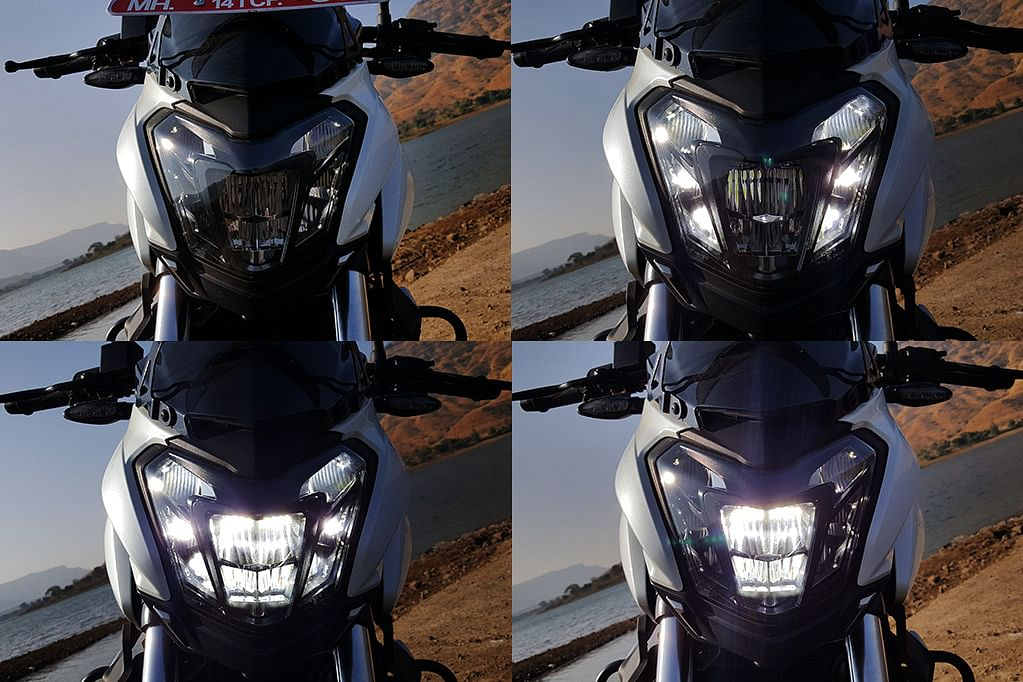 Four modes of the LED headlamp – clockwise from top left – pilots, DRLs, low beam and high beam. (Photo Courtesy: Motorscribes)