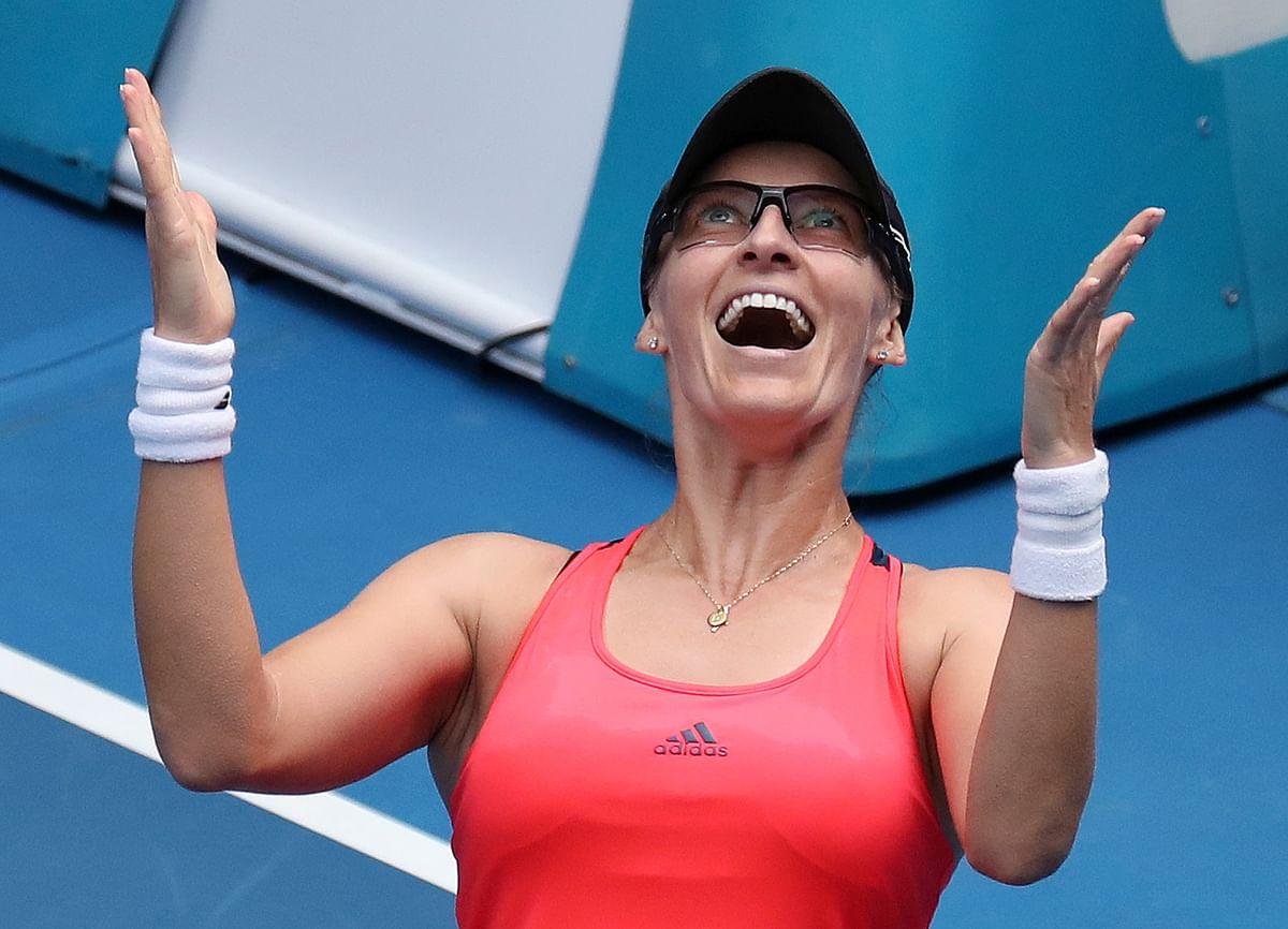 Croatia's Mirjana Lucic-Baroni celebrates her win over United States' Jennifer Brady in their fourth round match at the Australian Open. (Photo: AP)