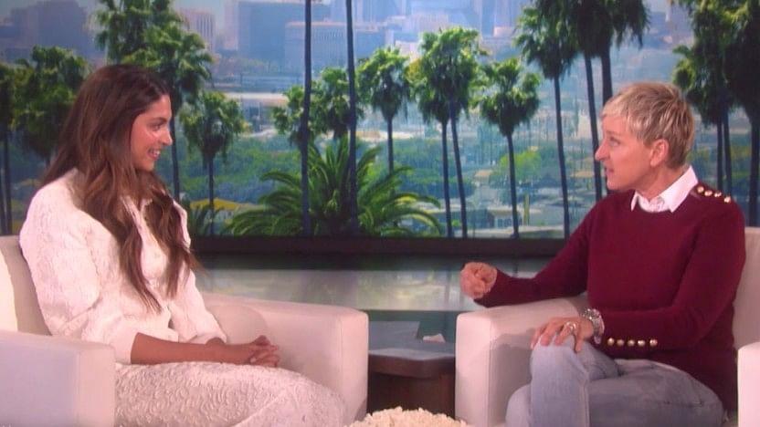 Deepika and Ellen on the show. (Photo Courtesy: EllenTube)