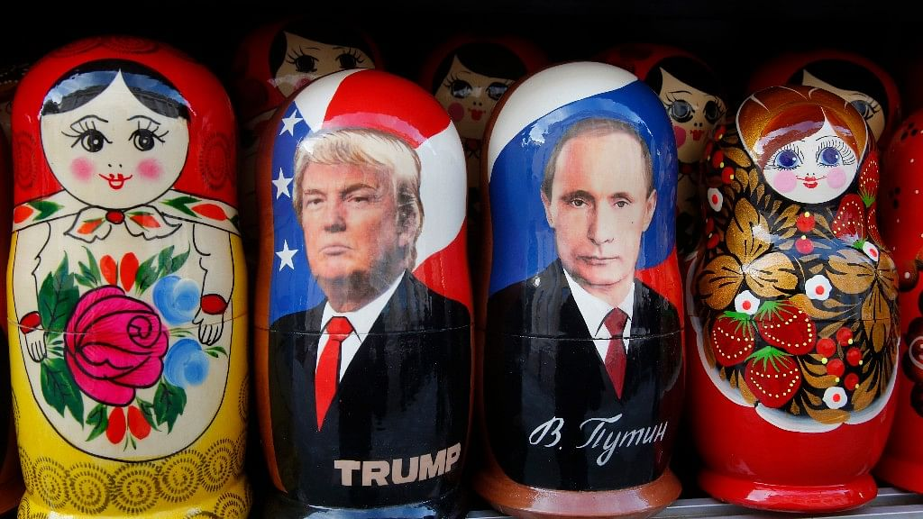 Traditional Russian wooden dolls  depicting Russian President Vladimir Putin and Donald Trump, hours before   Trump is to be sworn in as president,  St. Petersburg, Russia, 20 January 2017. (Photo: AP)