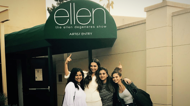 "Deepika Padukone and her entourage, backstage, at <i>The Ellen DeGeneres Show</i>. (Photo Courtesy: Instagram/<a href=""https://www.instagram.com/p/BPYprRHBD28/?taken-by=shaleenanathani"">shaleenanathani</a>)"
