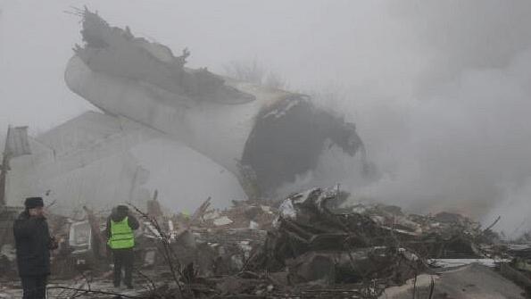 "The doomed plane damaged 15 buildings in the village of Manas in Kyrgyzstan. (Photo: Twitter <a href=""https://twitter.com/sarwanshokri"">@sarwanshokri</a>)"