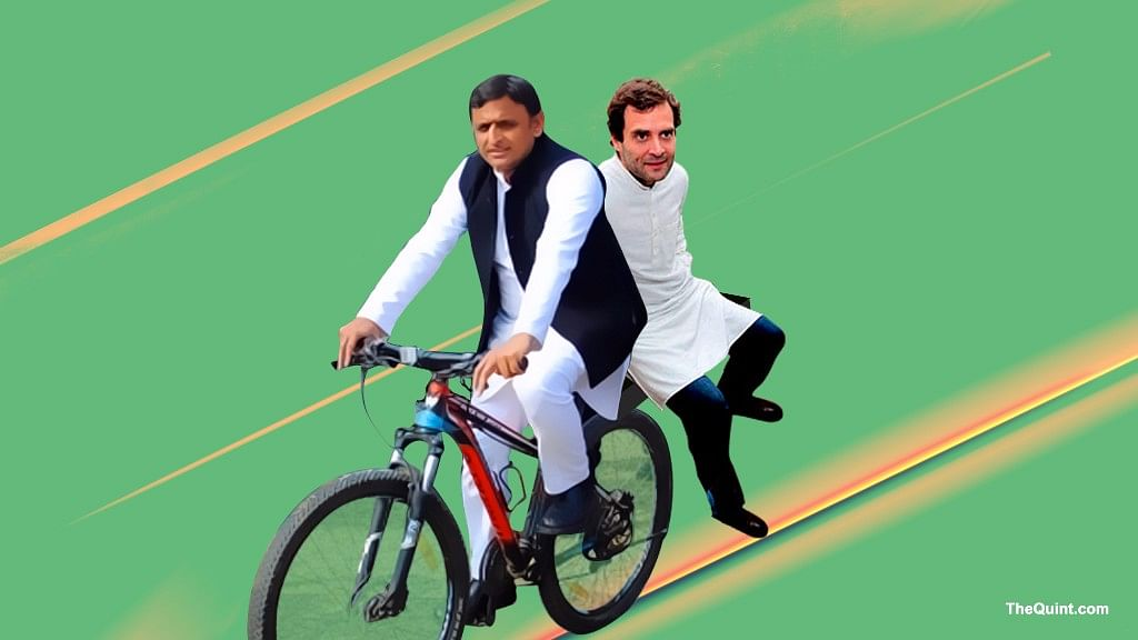 The Congress pre-empted Akhilesh in declaring the SP-Congress collaboration at a press conference in Delhi on Tuesday. (Photo Courtesy: Hardeep Singh/<b>The Quint</b>)