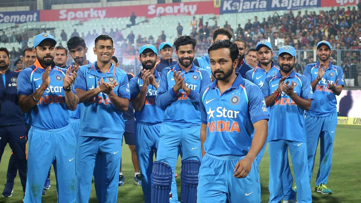 Kedar Jadhav was declared the man of the series during the third One Day International (ODI) between India and England. (Photo: BCCI)