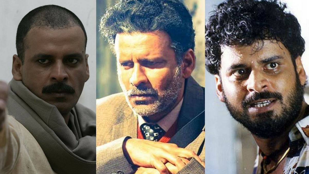 Manoj Bajpayee in stills from <i>Gangs of Wasseypur</i>, <i>Aligarh</i> and <i>Satya</i>.