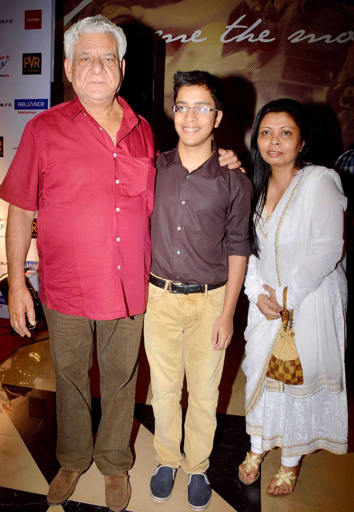 Om Puri with his ex-wife Nandita and son Ishaan.
