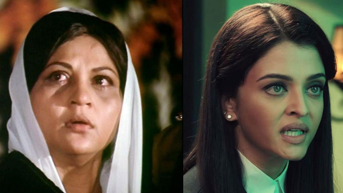 Nirupa Roy in <i>Amar Akbar Anthony</i> (L) and Aishwarya Rai in <i>Jazbaa </i>(R) .