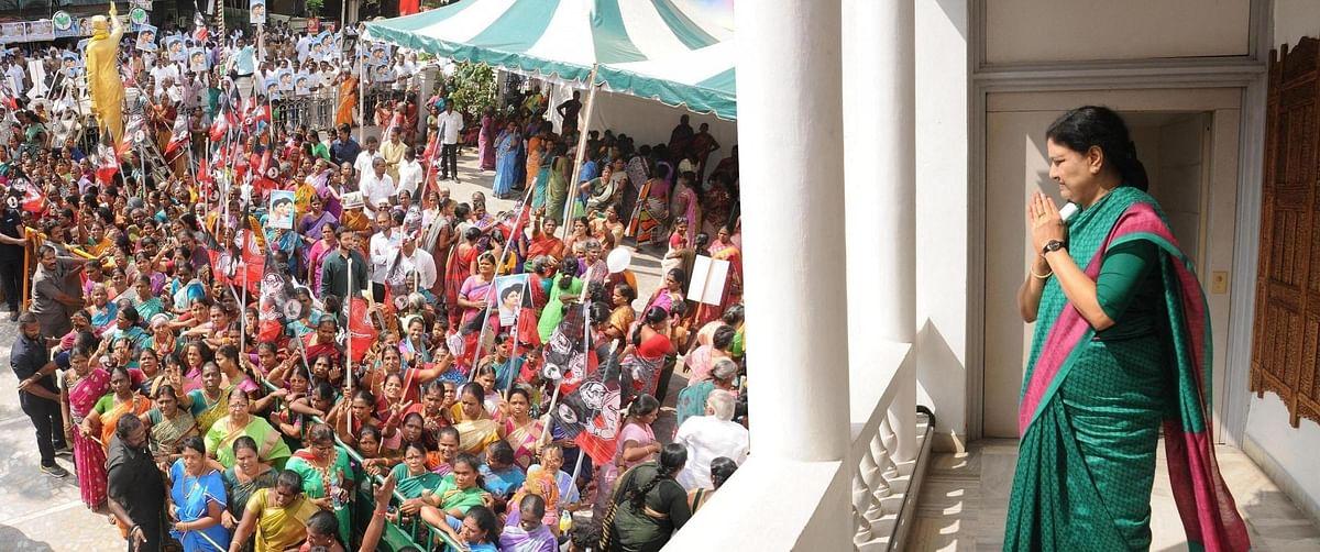 Sasikala at the AIADMK party headquarters. (Photo: IANS)