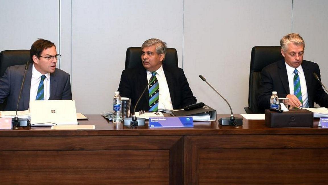 The ICC chairman Shashank Manohar chairs a meeting in Dubai.