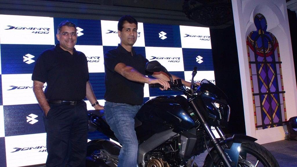 Rajiv Bajaj (right) at the launch of new Bajaj Dominar.