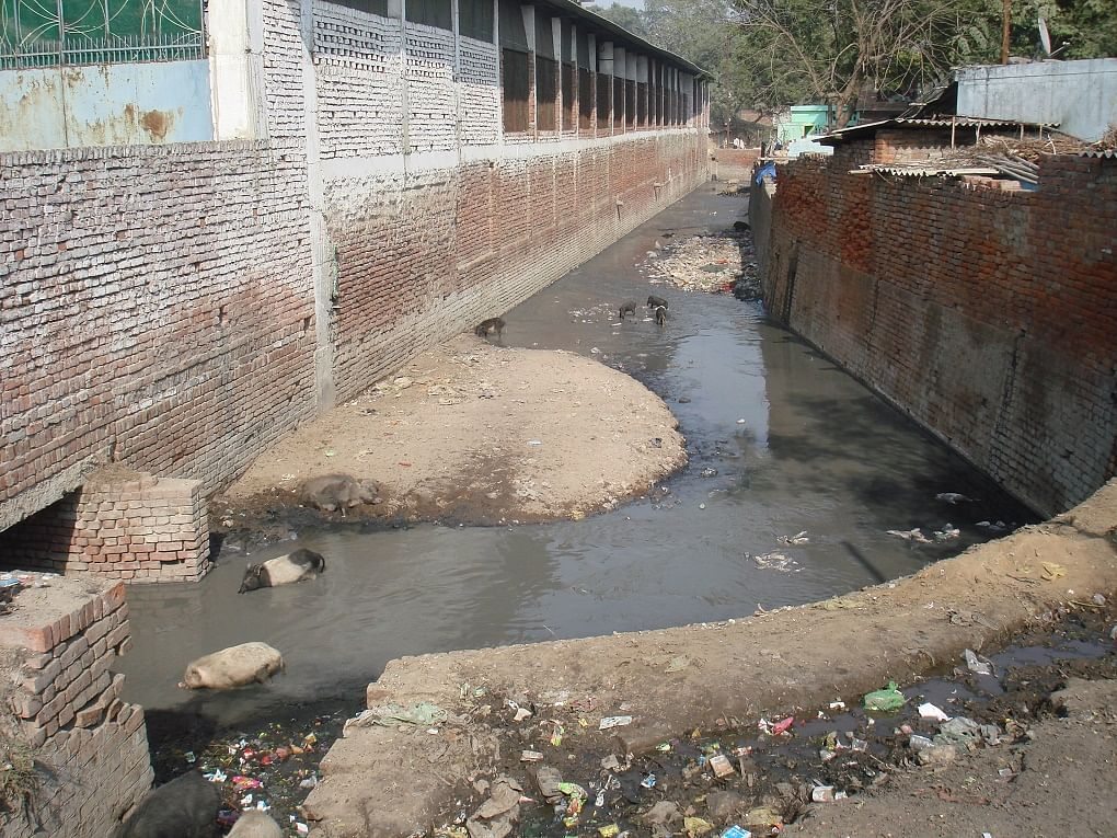 Drain carrying toxic effluents to the Ganga in Kanpur. (Photo: Juhi Chaudhary/The Third Pole)