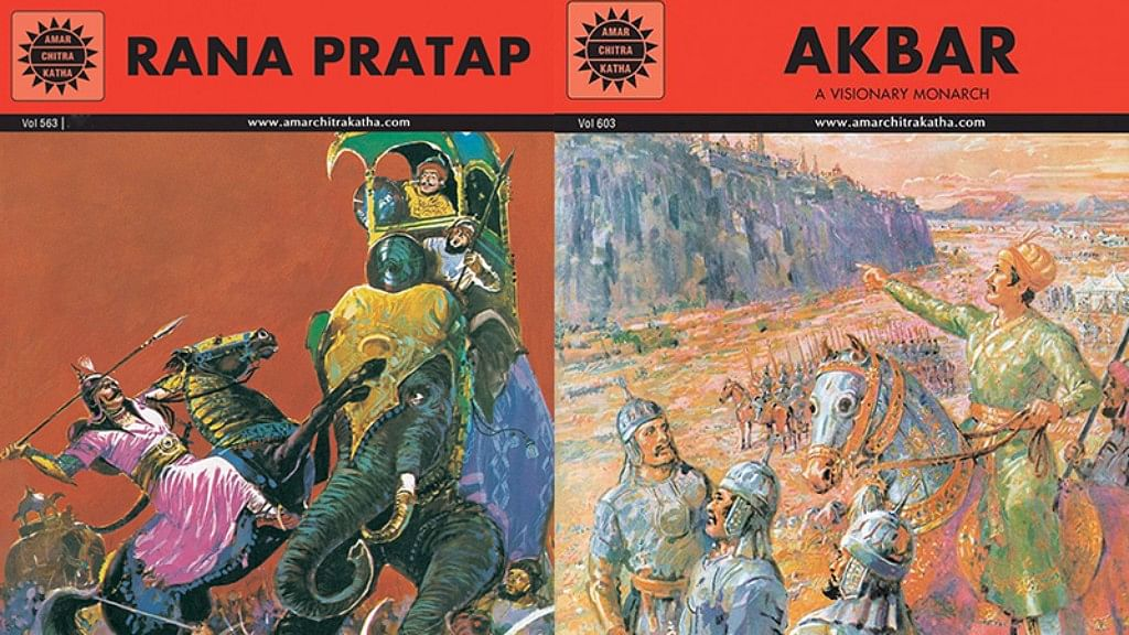 The covers of recent editions of Rana Pratap (L) and Akbar published by Amar Chitra Katha. The comic book was first published in the 1970s.
