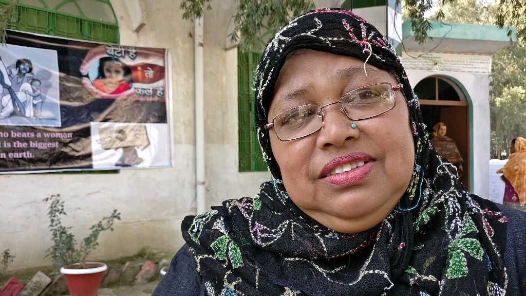 Shaista Ambar, the founder of the all-women Ambar Mosque in Lucknow. (Photo: Manon Verchot/<b>The Quint</b>)