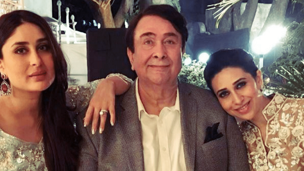 Randhir Kapoor poses with his daughters Kareena and Karisma Kapoor.