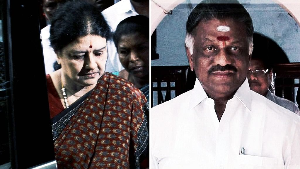 The Sasikala versus OPS battle rages on. (Photo: <b>The Quint</b>)