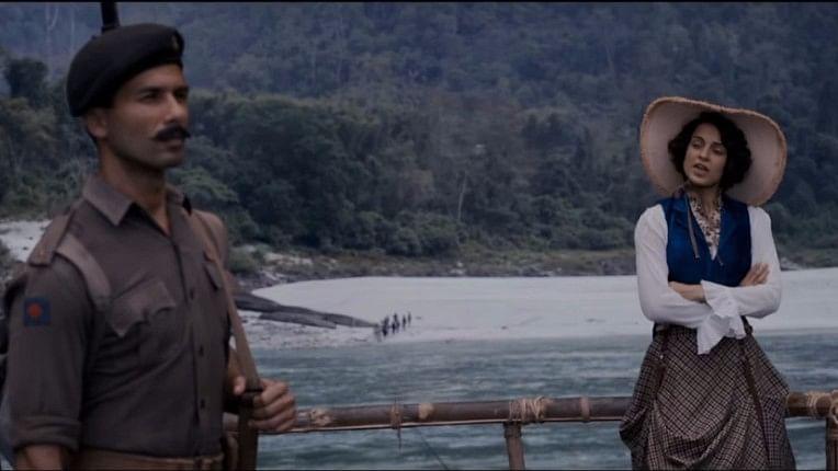 Shahid and Kangana in a scene from Rangoon. (Photo courtesy: YouTube/Viacom18 Motion Pictures)