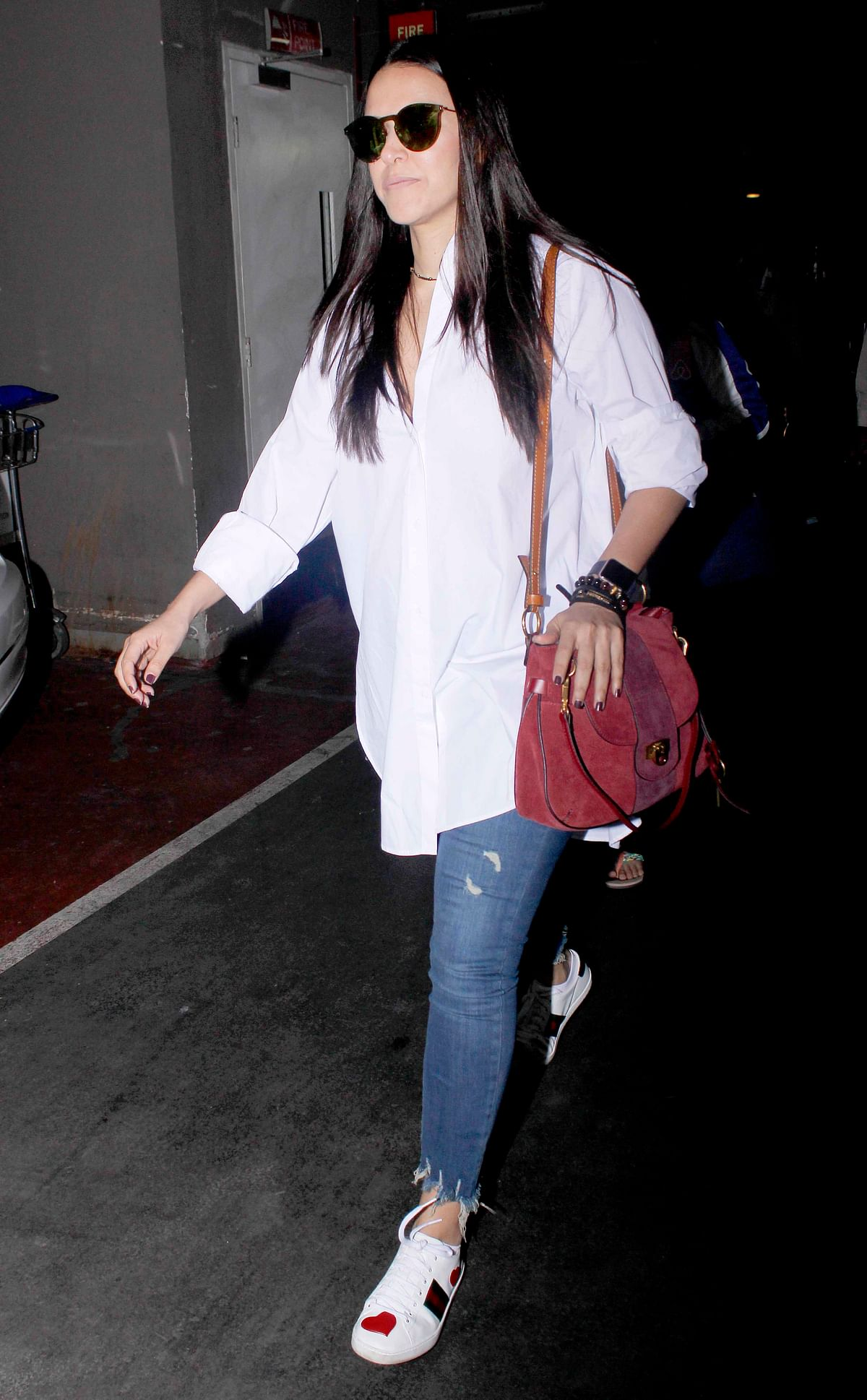 Neha Dhupia is  dressed also dressed in her usual casual attire. (Photo: Yogen Shah)