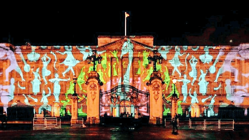 """Buckingham Palace lit by colourful and animated light projections (Photo/Twitter@<a href=""""https://twitter.com/AmandeepBhogal"""">AmandeepBhogal</a>)"""