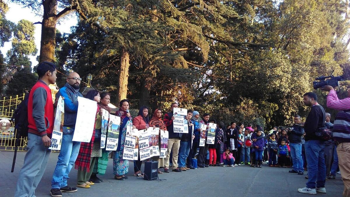 On 26 January, Civil Society Women Organisation (CSWO) and Thma u Rangli (TUR) held a demonstration outside the Shillong Raj Bhavan, demanding immediate removal of the Governor. (Photo Courtesy: Angela Rangad/Thma u Rangli)