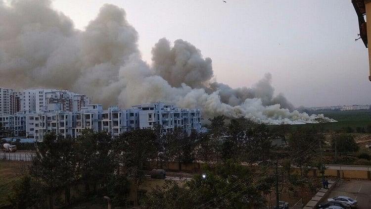 Smoke from the Bellandur lake in Bengaluru.