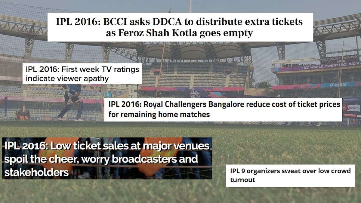 """Headlines have been taken from <a href=""""http://www.firstpost.com/sports/ipl-2016-bcci-asks-ddca-to-distribute-extra-tickets-as-feroz-shah-kotla-goes-empty-2801648.html"""">FirstPost</a>, <a href=""""http://timesofindia.indiatimes.com/sports/ipl/news/IPL-2016-First-week-TV-ratings-indicate-viewer-apathy/articleshow/52004473.cms"""">Times of India</a>, Cricket Country, DNA and Cric Tracker."""