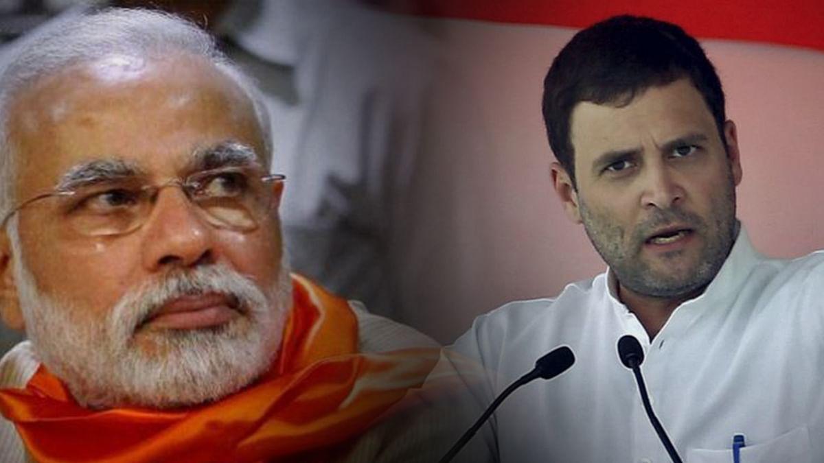 Narendra Modi (L) and Rahul Gandhi (R).