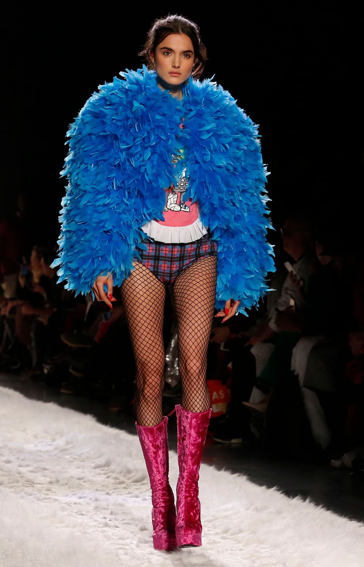 The fashion collection from Jeremy Scott is modeled during Fashion Week, Friday, 10 February 2017, in New York. (AP Photo/Bebeto Matthews)