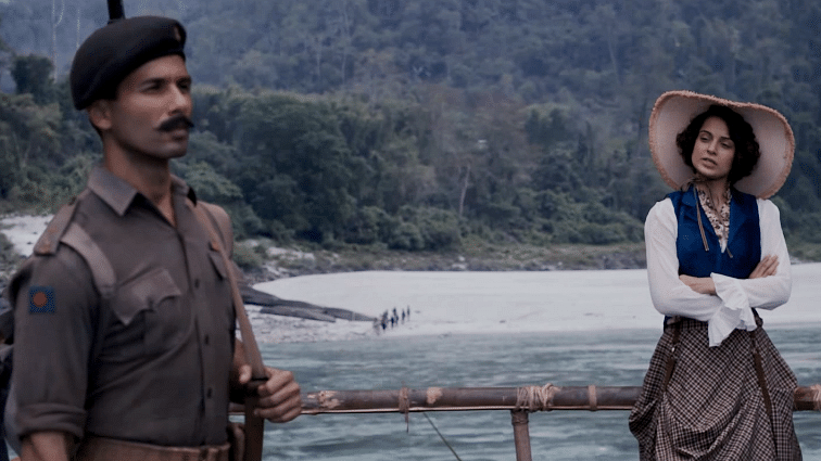 """Shahid Kapoor and Kangana Ranaut in a scene from Rangoon. (Photo courtesy: YouTube/<a href=""""https://www.youtube.com/channel/UCs56ffejFhWlCvlvRIdpb9Q"""">Viacom18 Motion Pictures</a>)"""