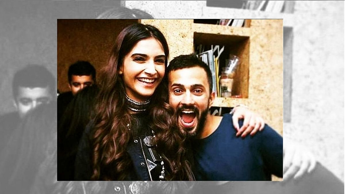 Sonam Kapoor and Anand Ahuja pose together.