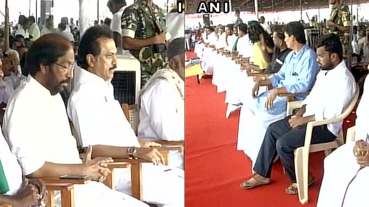 DMK's hunger strike protest over ruckus that took place in Tamil Nadu Assembly, led by MK Stalin, is underway. (Photo: ANI)