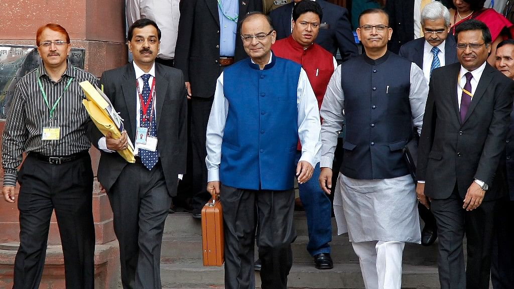 Finance minister Arun Jaitley arrives to present Budget at Parliament House  (Photo: Reuters)