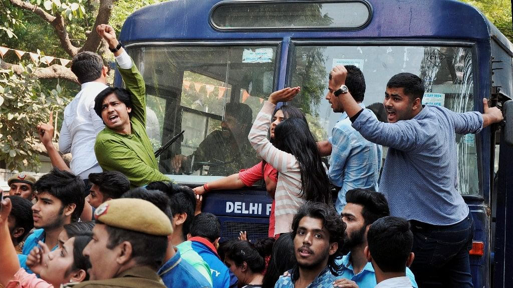 The clashes come a day after a two-day long seminar organised by Ramjas College that had to be cancelled after ABVP members protested against the participation of JNU student Umar Khalid. (Photo: PTI)
