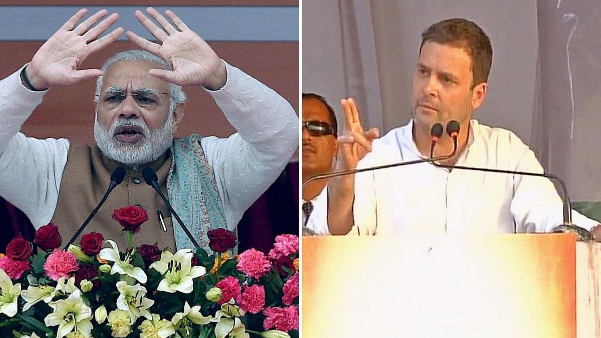 Prime Minister Narendra Modi (L); Congress Vice President Rahul Gandhi. (Photo: Altered by <b>The Quint</b>)