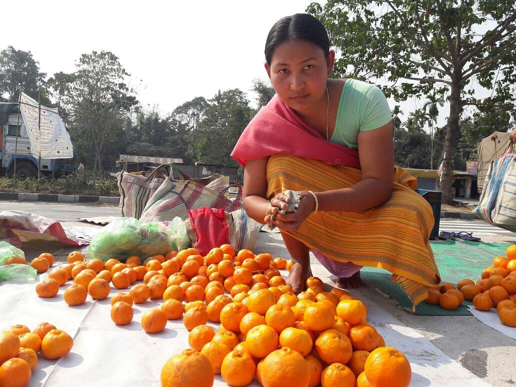 Archer Buli Basumatary now sells oranges on NH-31 (Photo: <b>The Quint</b> / Anjana Dutta)
