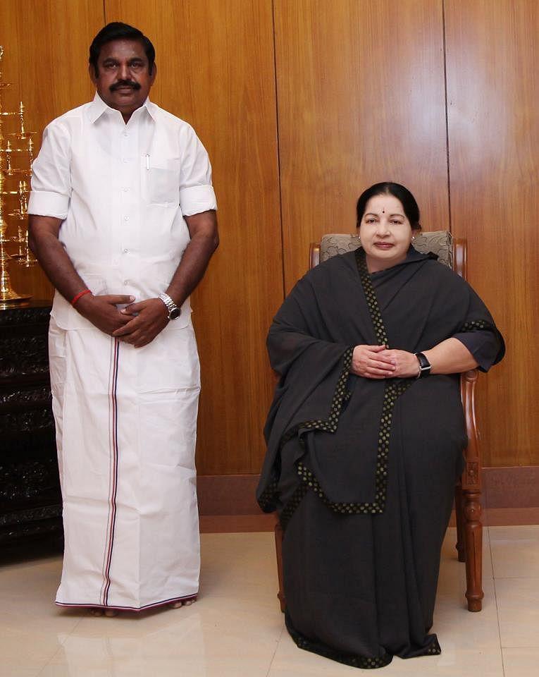 Palanisamy with former CM J Jayalalithaa (Photo: Wikimedia Commons)