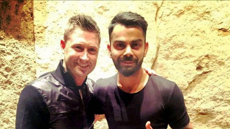 File picture of Michael Clarke with Virat Kohli.
