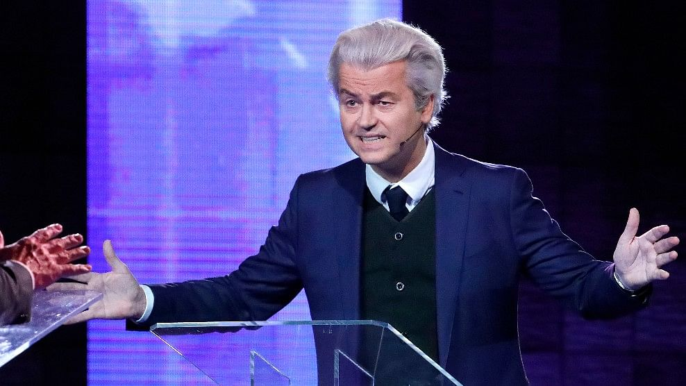 Right-wing leader Geert Wilders  during a national televised debate on March 13 2017. (Photo: AP)