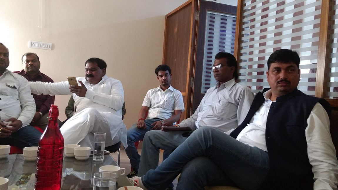 Sunil Singh, leader of the breakaway Hindu Yuva Vahini established by Gorakhnath mutt seer Yogi Adityanath, is also a BJP MP. (Photo: Chandan Nandy/<b>The Quint</b>)