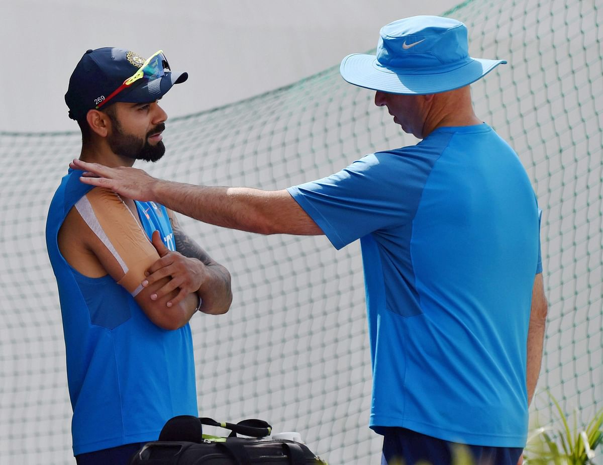 Virat Kohli with Team India physio. (Photo: PTI)