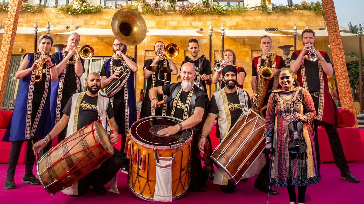 Bollywood Brass Band's most recent album <i>Carnatic Connection</i> is a fusion of Bollywood and Carnatic filmi sounds. (Photo Courtesy: Bollywood Brass Band)