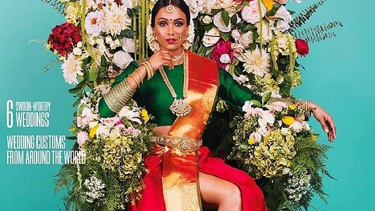Mag Cover Featuring Tamil Bride Wearing Saree With Slit Sparks Row