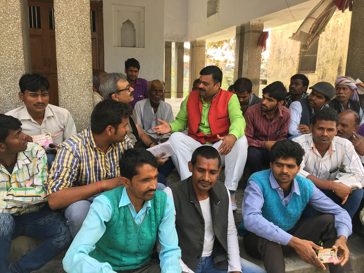 Ajay Kumar Pandey aka Pappu Pande, a member of the rebel group of Hindu Yuva Vahini, contesting elections as an independent candidate from Padrauna district in eastern Uttar Pradesh. (Photo: Maanvi/<b>The Quint</b>)
