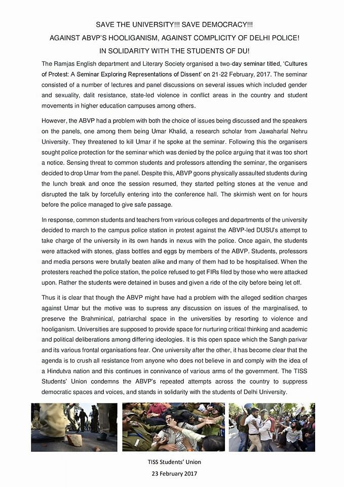 Statement by TISS Students' Union attacking the ABVP following the Ramjas violence