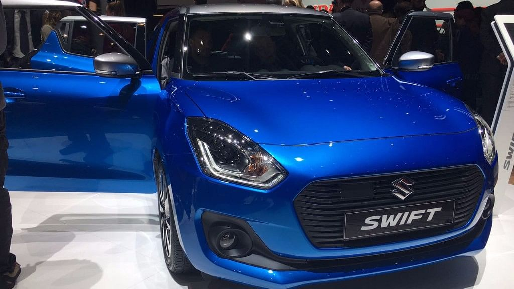 Maruti Suzuki Swift on display at the Geneva Motor Show 2017.