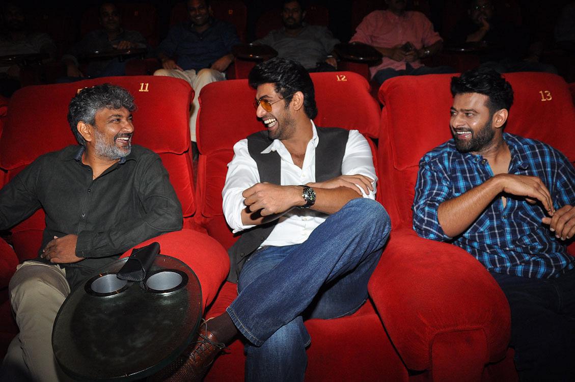 Director Rajamouli and his boys Rana and Prabhas watch the trailer. (Photo: Yogen Shah)
